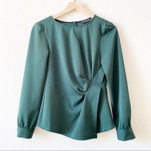Zara green blouse with side gathering